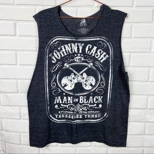 Zion Rootswear Johnny Cash guitar graphic tank L